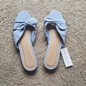 NWT Ann Taylor Chambray Sandals